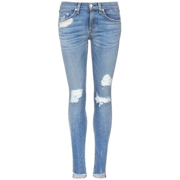 Rag & bone/JEAN 'Skinny' staggered hem jeans (€210) ❤ liked on Polyvore featuring jeans, blue, super distressed skinny jeans, super skinny jeans, ripped jeans, distressed jeans and distressed skinny jeans