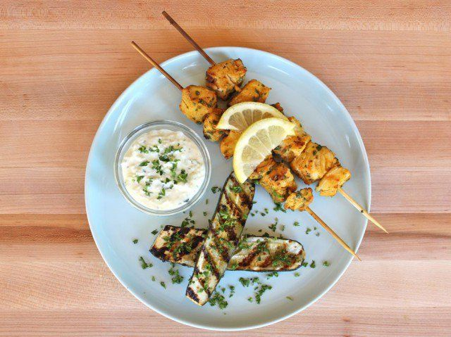 Grilled fish skewers marinated in Sephardic spices and herbs - cumin, paprika…