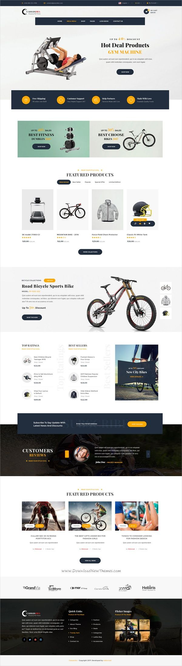 Cassandra is a clean and functional #PSD template for #fitness #sports #shop stunning eCommerce website with 62 organized PSD files download now➩ https://themeforest.net/item/cassandra-shopping-multipurpose-ecommerce-psd-template/19543637?ref=Datasata