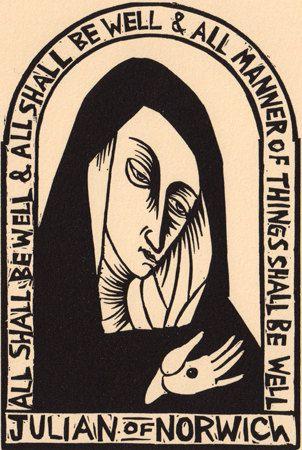 Julian of Norwich linocut Christianity prayer