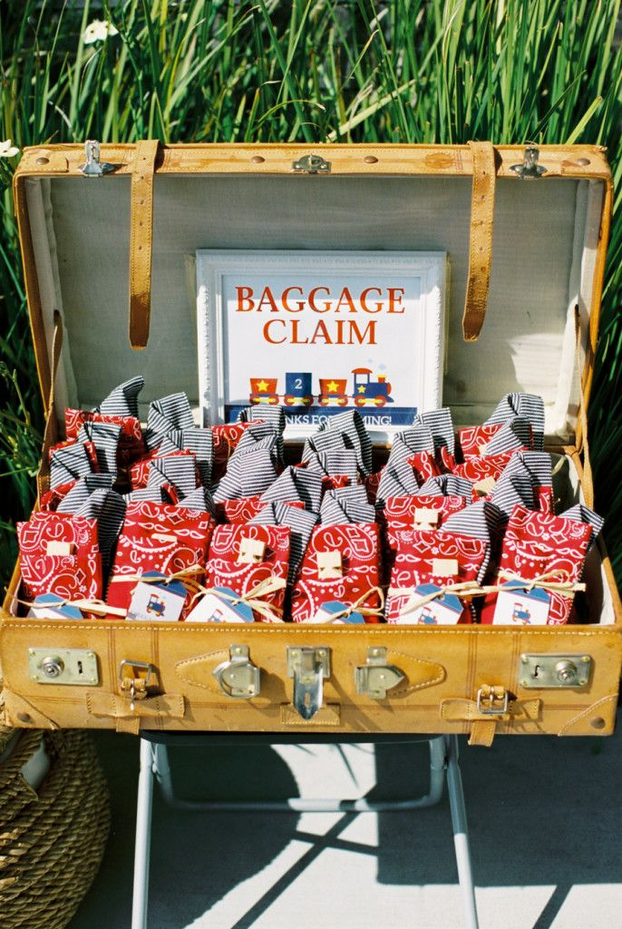 """Favor Idea for a Train-Themed Birthday Party - """"Baggage Claim"""" in a suitcase"""