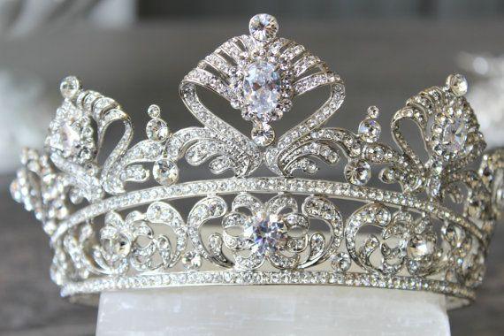 Full Bridal Crown Swarovski Crystal Wedding by EdenLuxeBridal