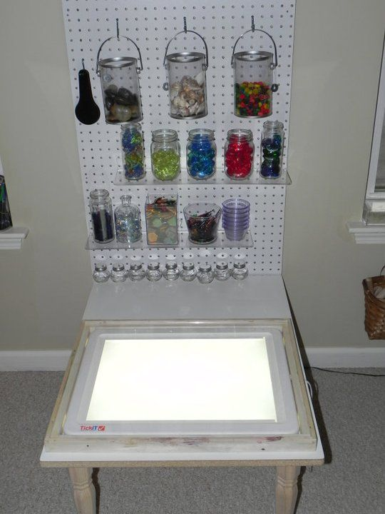 Light panel with light panel accessories on peg board ~to hope and dream.....