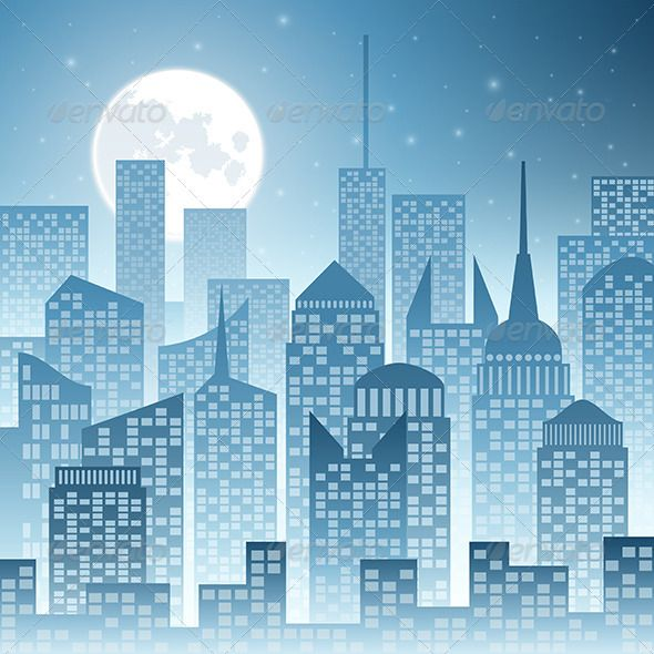 comic book cityscape | Cityscape with Skyscrapers and Moon ...