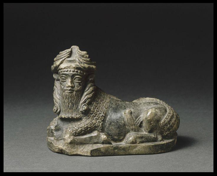 Recumbent bull with man's head.Mesopotamia, c. 2350–2000 BC. Louvre