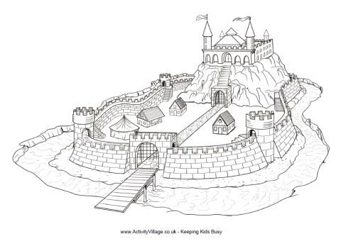 Motte and bailey castle colouring page.  Other coloring pages here as well.  Knight and drawbridge, etc. (Sep 2013)