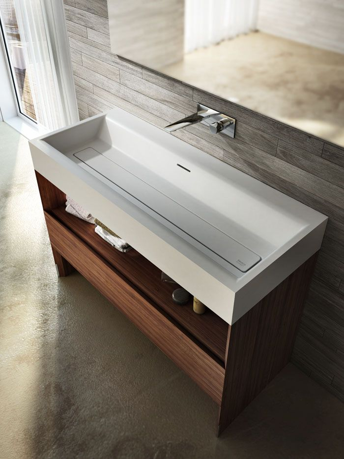 Suit #washbasin: the squared shapes of the exterior of the basin soften towards the inside. Beautiful the wooden basement with large space inside- #bathroom