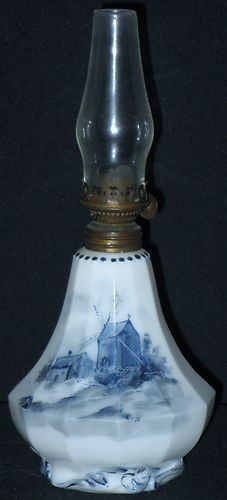 Antique Miniature Delft Oil Kerosene Lamp Base w Chimney Paneled Windmill Lake | eBay