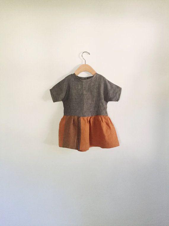 Oranje linnen kleur blok jurk - op bestelling gemaakt