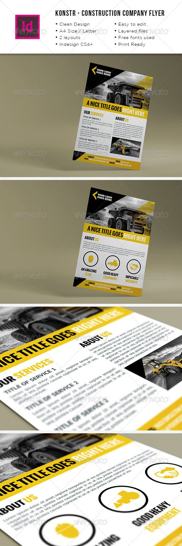 Construction Company A4 / Letter Flyer http://graphicriver.net/item/construction-company-a4-letter-flyer/8507483?ref=damiamio Construction company A4 / Letter Flyer. 2 unique designs. Fully editable .indd and .idml files. Images not included. InDesign CS4+ (IDML file) InDesign CC (INDD file) A4 Size Letter Size Bleed CMYK Easy to edit Ready for print Thanks for your interest and if you need my help with anything related to this or other designs don't hesitate to contact me. Created…