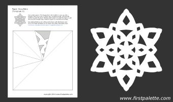 Paper snowflake template 9 from firstpalette.com