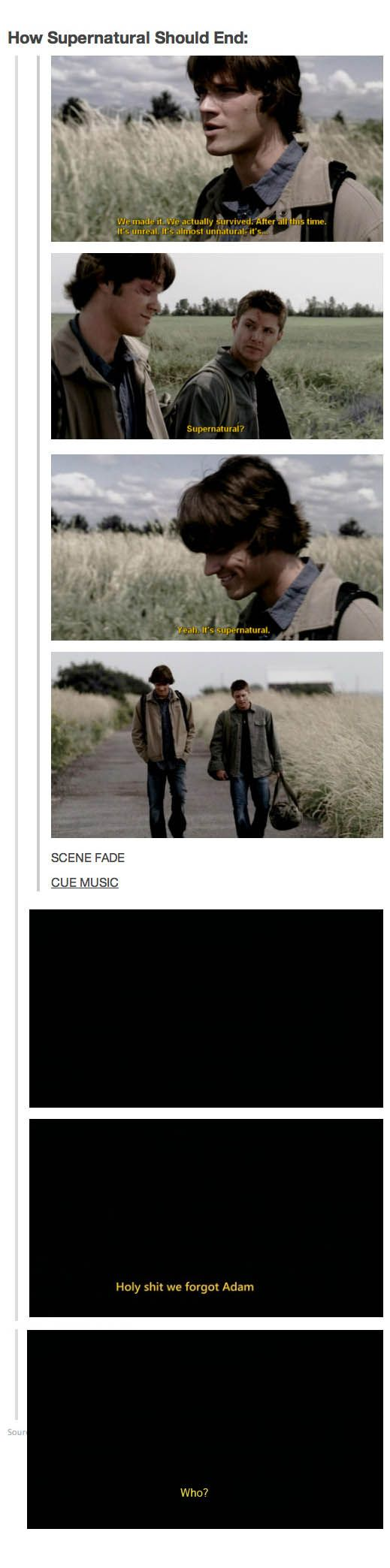 ;) Lol this is funny but I truly think the show should end with sam and dean dying yes I know that would be sad but common are they really gonna move on and have kids and die from a heart attack or somthing? Ah hell no!