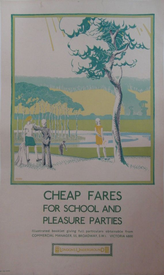 London Underground Poster 'Cheap Fares for School and Pleasure Parties' by Penn, 1931