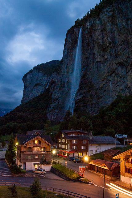 Staubbach Falls at dusk - Lauterbrunnen, Switzerland