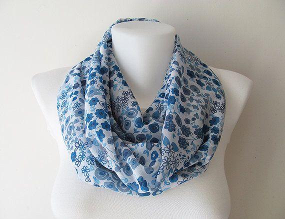 Blue Chiffon Infinity Scarf Flower Pattern by NaryasSewingCorner