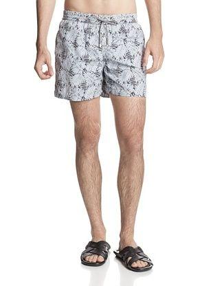 45% OFF Brioni Men's All Over Print Swim Shorts (Blue)