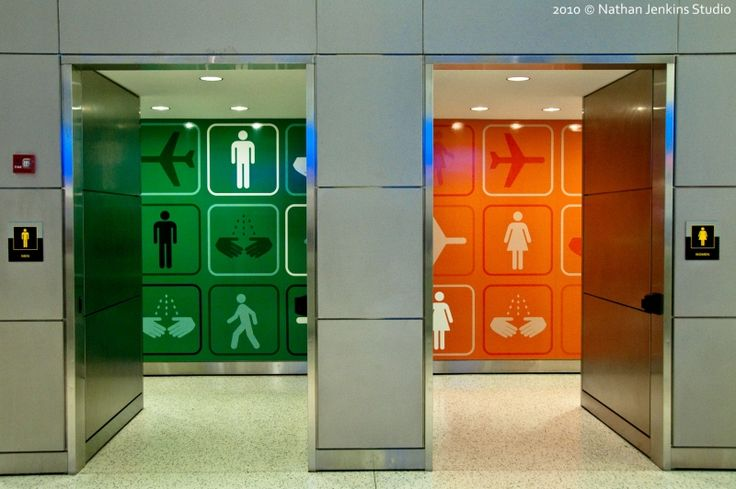 Public Restroom Entries At Jfk Airport In The Terminal 5