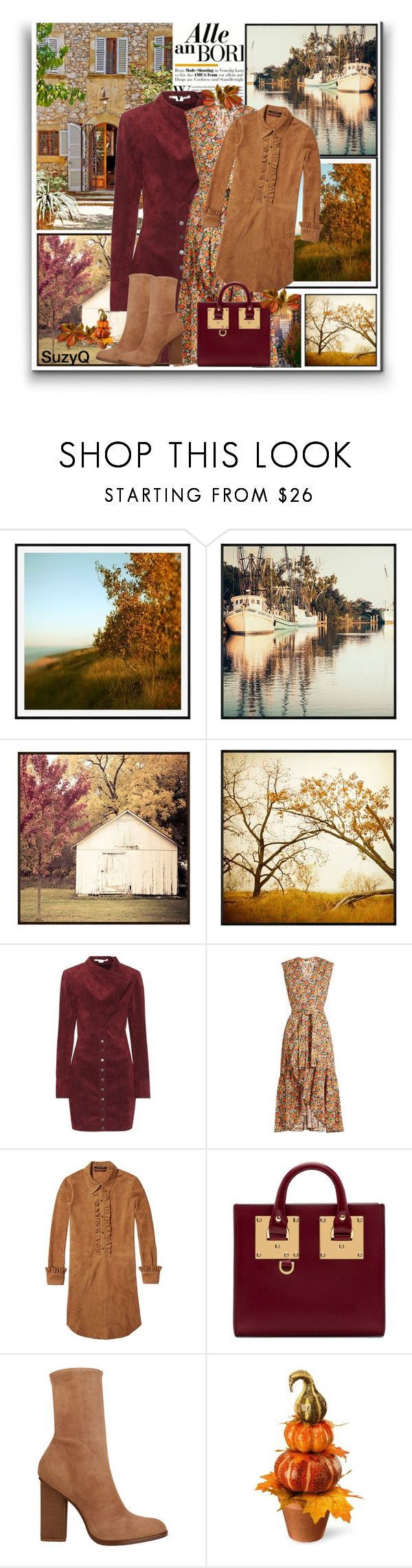 """""""🍂 Autumn Colors 🍂 DEEP RED"""" by polyvore-suzyq ❤ liked on Polyvore featuring Pottery Barn, STELLA McCARTNEY, Rebecca Taylor, Sophie Hulme, Alexander Wang and National Tree Company"""