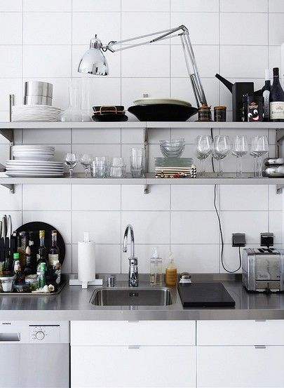 Kitchen w/ open shelves