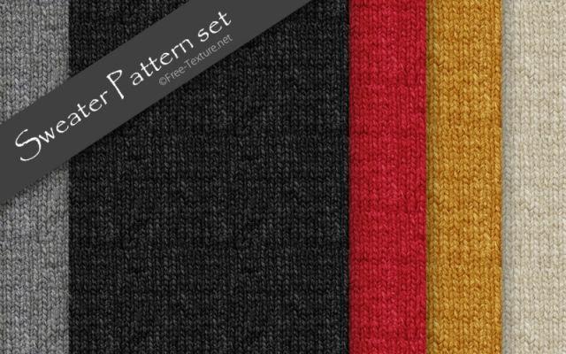 5色のセーター(毛糸/ニット)・フリーのシームレスパターンセット(PHOTO)