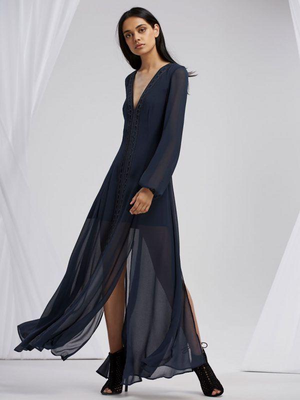 Finders Keepers - Maison Long Sleeve Maxi Dress Slate