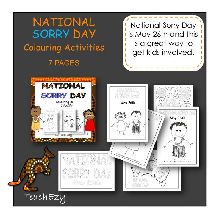 Colouring pages for your child to colour and teach them about Natinal Sorry Day AUSTRALIA.