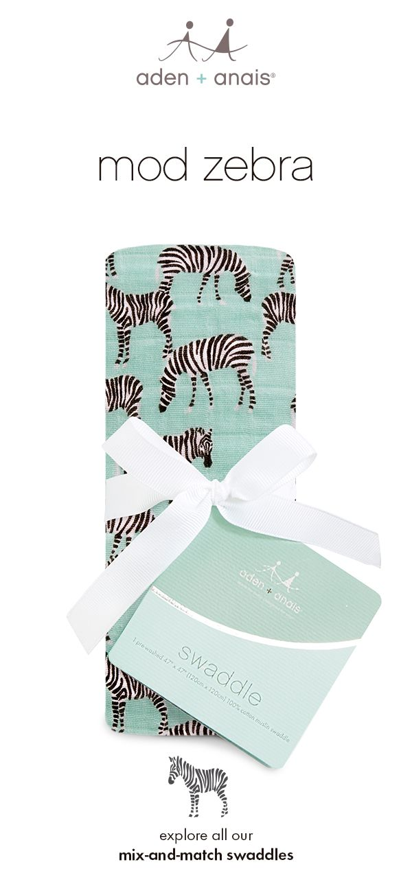 with shades of sea foam green, black and white, this muslin zebra swaddle makes the perfect neutral print to fit in with your safari and zoo themed nursery. pair it with prints of your choice from our mix-and-match collection.