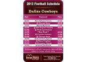 3.5x2.25 in One Team Dallas Cowboys Football Schedule
