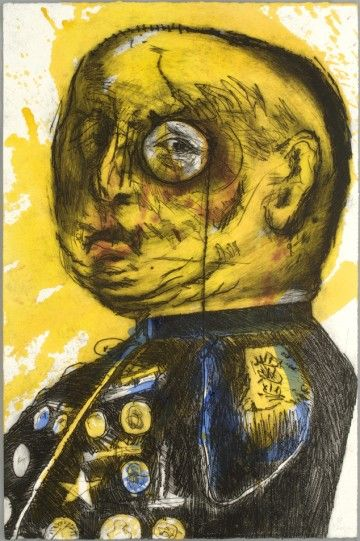 William Kentridge 'General' 1993-1998, Power-tool engraving with hand-painting. Printed in collaboration with Master Printer Jack Shirreff