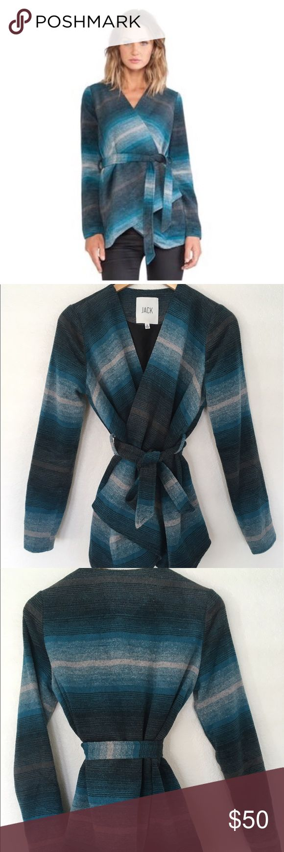 """JACK Belted Ombré Stripe Jacket Gorgeous blue/real ombre pattern! Belted jacket with soft exterior and a lining similar to what you'd find with a blazer. Works well as a sweater in colder weather or a light jacket in warmer weather. NWT, excellent condition, no issues. Bust is 29.5"""", length is 29"""" in front, 27"""" in back. Jack by BB Dakota Jackets & Coats Blazers"""