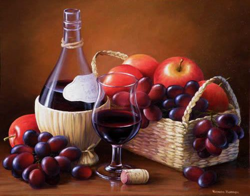 Wine and Fruits, Oil painting
