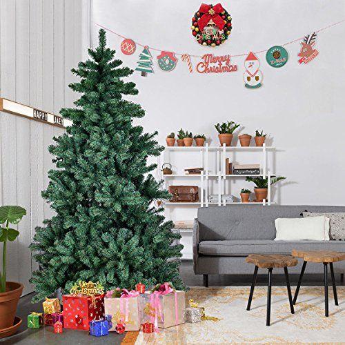 Goplus 7 Ft Artificial Christmas Tree Autospread Close Up Premium Spruce Hinged Unlit Full Tre Pre Lit Christmas Tree Real Christmas Tree Pencil Christmas Tree