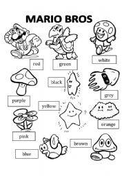 English worksheet Mario Bros Coloring Color Mario bros