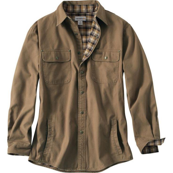 Carhartt Men's Weathered Canvas Shirt Jacket, Size: Medium, Brown