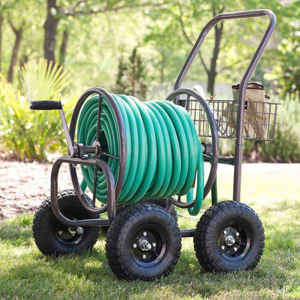 For die-hard gardeners, start four-wheeling around your outdoor space with a Liberty Garden hose cart. Just hook up the hose and go. Handy storage lets you store gardening gloves and other supplies you might need along the way. This is just one of the many new and fun innovations for watering your garden. Learn more about the others when you click through to The Home Depot Garden Club.