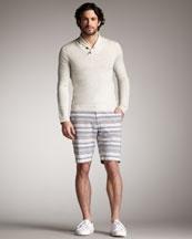 Niemen Marcus-Rag & Bone   Sussex Shawl-Collar Sweater & Striped Beach Shorts