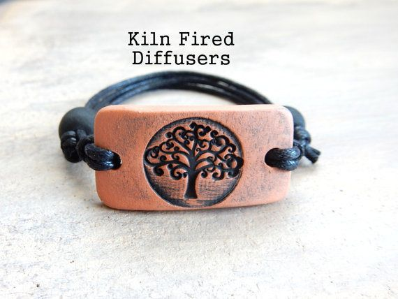 Black Tree of Life Handmade Essential Oil Diffuser Bracelet, Diffusing Terracotta, Adjustable cord