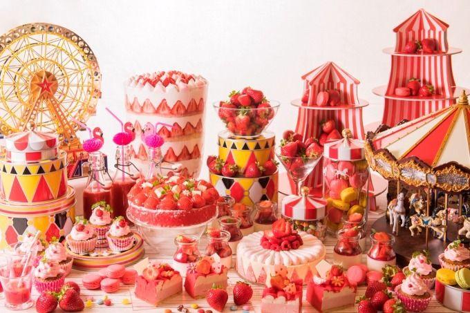 ヒルトン大阪「魅惑のストロベリーサーカス」サーカスや遊園地をイメージした苺デザートブッフェ   ファッションプレス