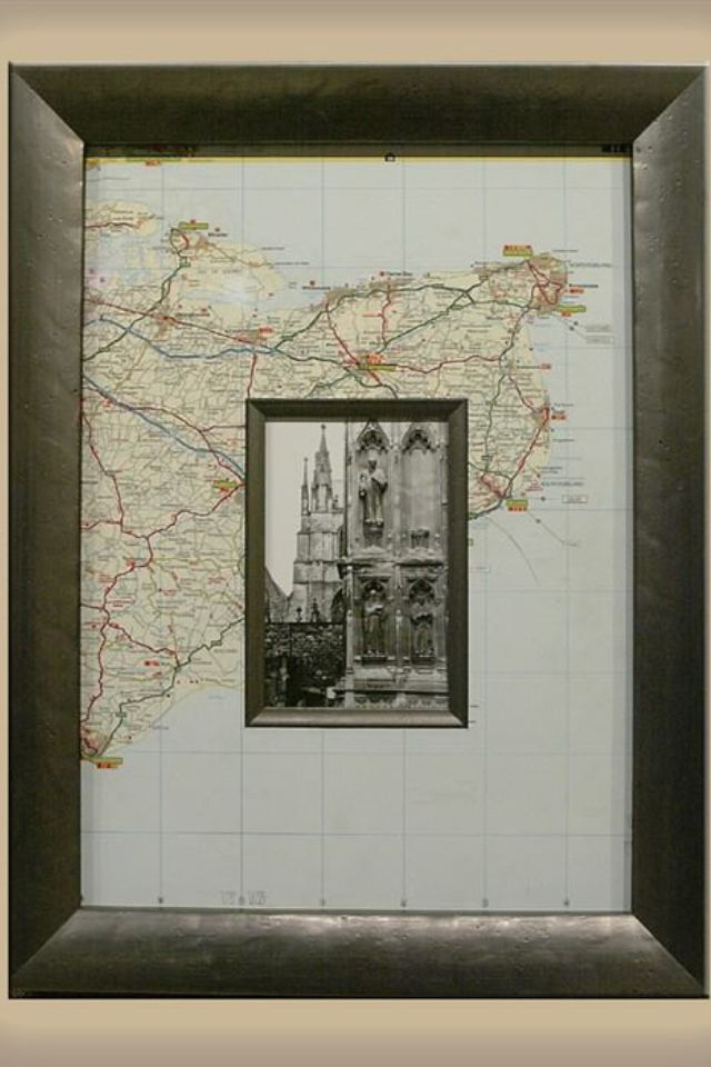 Frame, map as a mat –perfect for your travel and adventure gallery (honeymoon or even where you met, too)