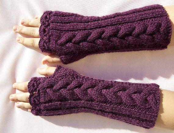 Knitted mittens/gloves dark purple warm lovely by DosiakStyle