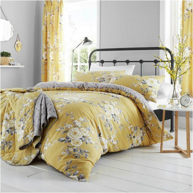 Buy Catherine Lansfield Canterbury Ochre Bedding Set Double Duvet Cover Sets Argos Floral Duvet Cover Yellow Bedding Floral Duvet