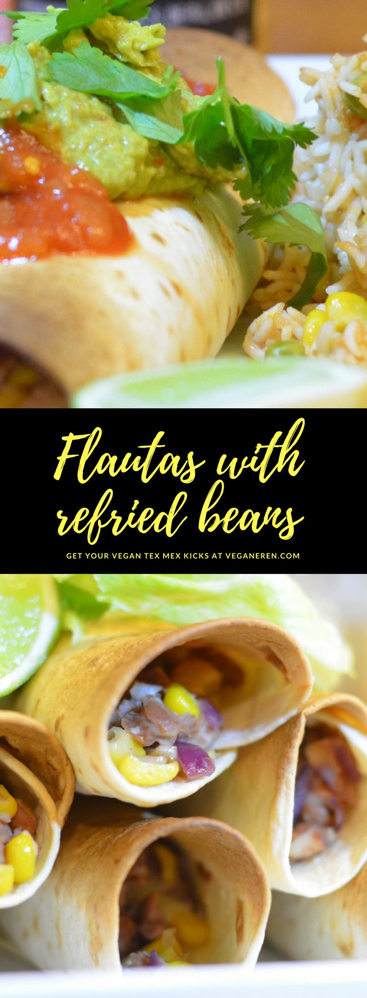 "We love Mexican food, and have it at least 1-2 times a week, sometimes more. Friday is always ""tacoday"" here in our house, especially the weekends when we have all the children statying with us. We do like to vary a bit, and here's one of our new favorites - flautas! Flautas are baked tortilla rolls that are crispy on the outside and have a delicious fill inside. Here again inspired by the book ""Thug Kitchen"" and a variant of their bean stew, corn and jalapenos. Our own wonderful twist"