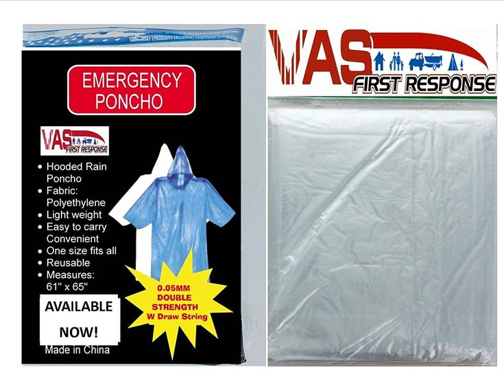 4 PACK VAS DOUBLE STRENGTH 5 MIL ADULT CLEAR 65' x 44' EMERGENCY HOODED RAIN PONCHO WITH HODD *** You can get additional details at the image link.