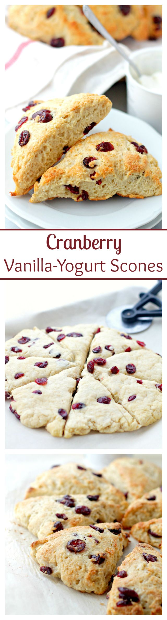 Cranberry and Vanilla-Yogurt Scones   www.diethood.com   Lightened-up, no-butter, sweet Scones made with a delicious vanilla yogurt and ruby red cranberries. #ad