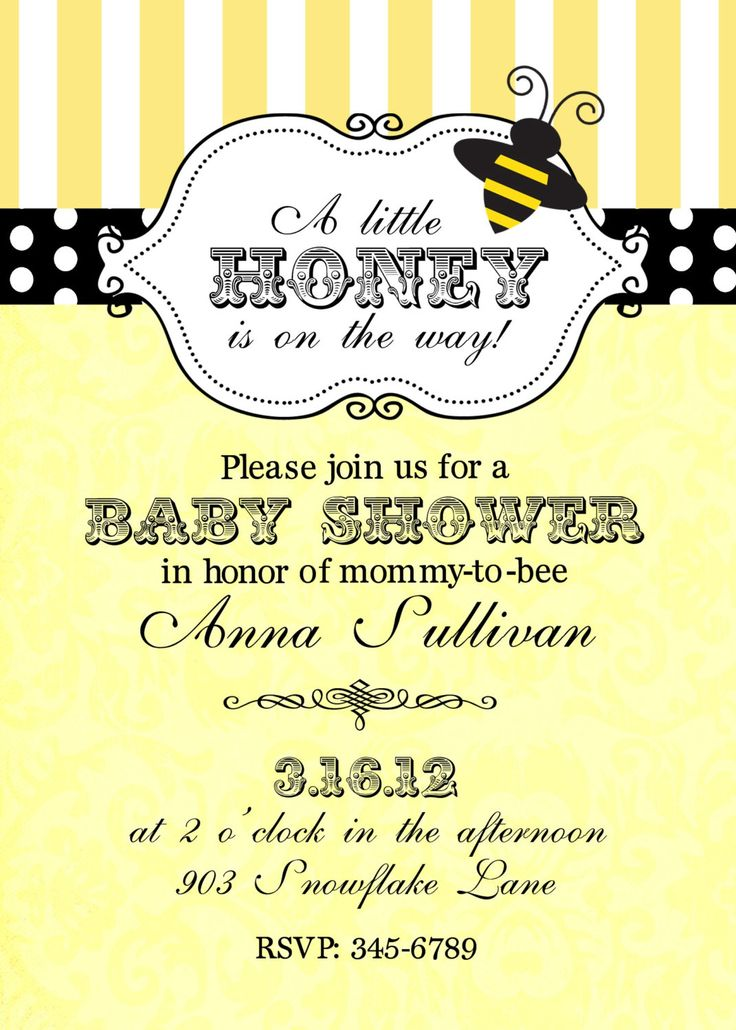 Bumble Bee Baby Shower Invitations Digital or printable file. $9.50, via Etsy.