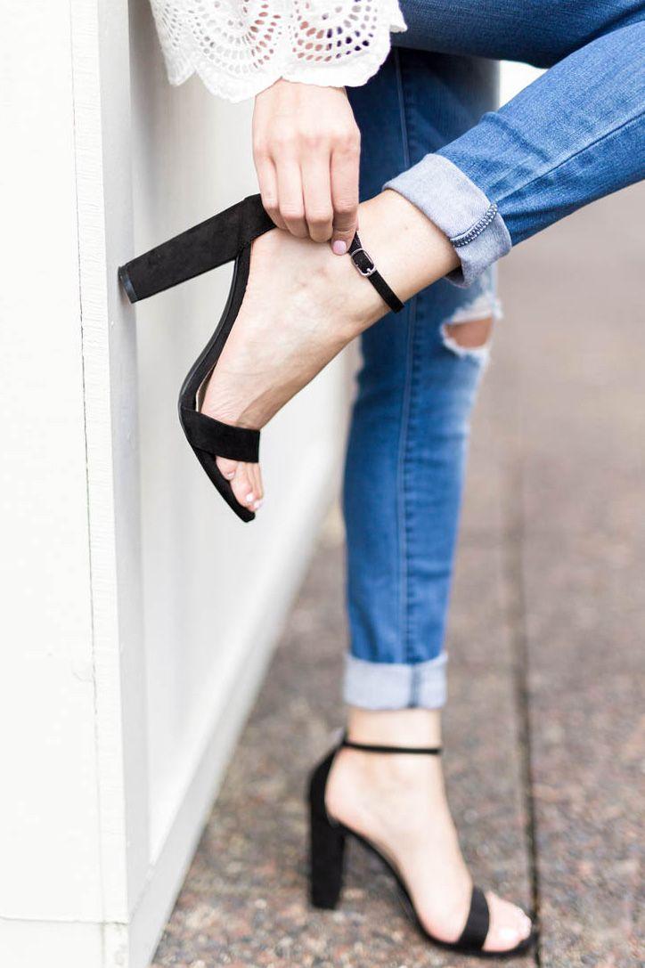 Style | Spring Fashion | Black Heels | One Strap Sandals | Block Heels | Mom Fashion | Mom Style | Strappy Sandals | Shoe Game | Shoes | Heels | Chunky Heel | Spring Looks | Trends | Fashion | JustFab