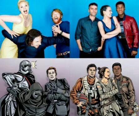 Captain Phasma/Gwendoline Christie, General Hux/ Domhnall Gleeson, Kylo Ren/ Adam Driver, Poe Dameron/ Oscar Issac, Rey/ Daisy Ridley, Finn/ John Boyega