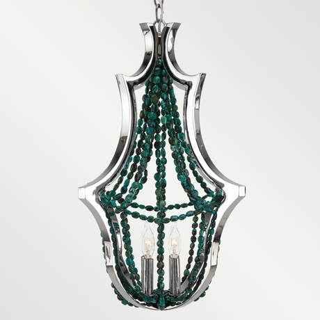 Polished nickel and turquoise bead chandelier.