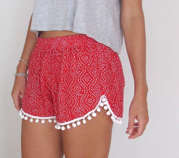 Pom Pom Shorts - Red and White Polkadot Print - White Pom Poms
