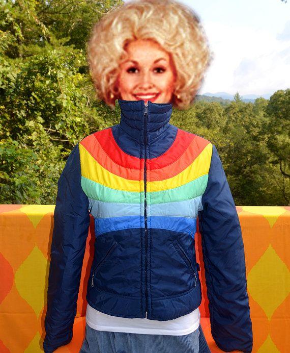 Vintage 70s Ski Jacket Rainbow Stripe Puffy Parka Coat
